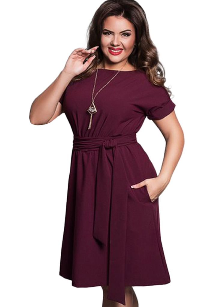 Elegant Women Plus Size Belted Dress With Pockets_Plus size Dress_Plus size Clothing_Sexy Lingeire | Cheap Plus Size Lingerie At Wholesale Price | Feelovely.com