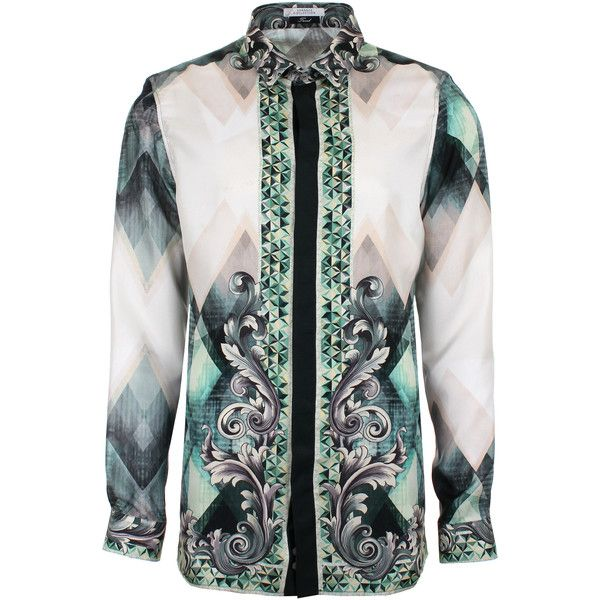 Versace Collection Geometric Baroque Silk Shirt ($685) ❤ liked on Polyvore featuring men's fashion, men's clothing, men's shirts, men's casual shirts, mens aqua dress shirt, geometric mens shirts, mens silk shirt, mens slim shirts and versace mens shirt
