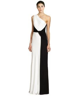 David Meister Colorblock One Shoulder Jersey Gown