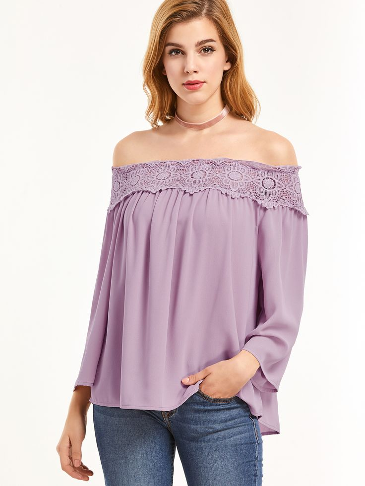 Shop Purple Hollow Out Crochet Off The Shoulder Top online. SheIn offers Purple Hollow Out Crochet Off The Shoulder Top & more to fit your fashionable needs.