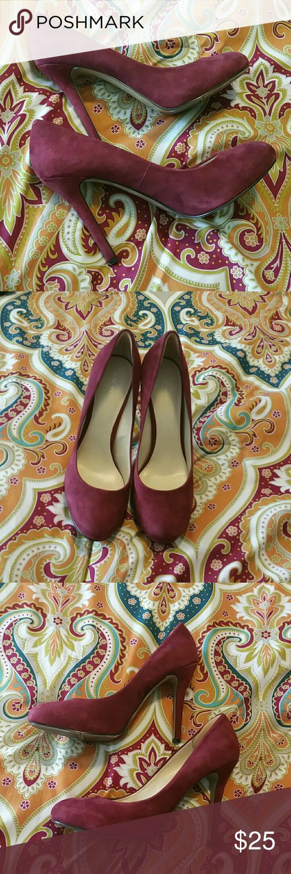 "Nine West pumps Nine West pumps, sz 8.5, maroon, 4.5"" heel, platform Nine West Shoes Heels"
