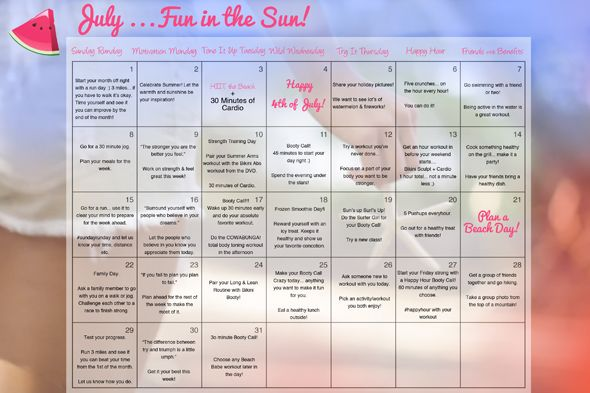 Your Tone It Up July Calendar!: 2012 Calendar, Tiu Workouts, Fitness Workouts, Workout Calendar, Fav Fitness, July Calendar, Exercises Fitness, Monthly Workouts, Fitness Calendars