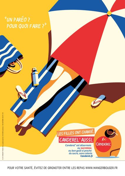 Malika Favre - Campaign for Canderel  Agence Marcel  Tiphaine-illustration  #beach