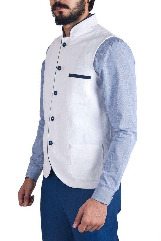 White Linen Waistcoat Menswear Indian Menswear Indian