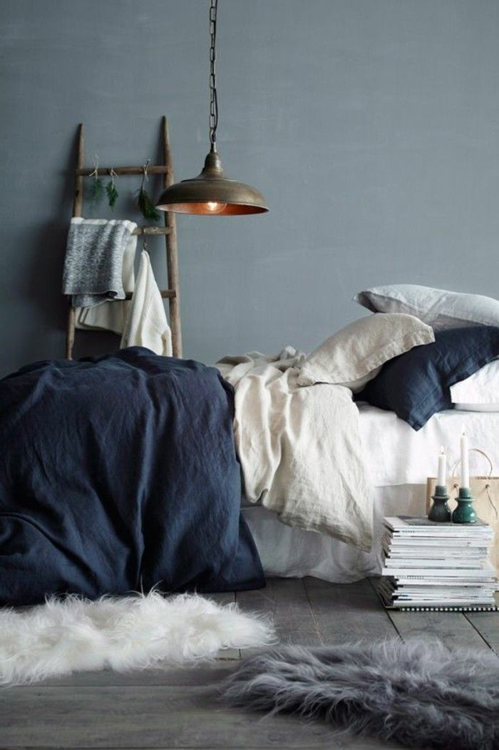 bedroom design gray wall paint blue bedding and white accents Home