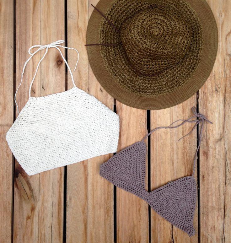 Croptops tejidos al crochet, $300 en https://ofeliafeliz.com.ar