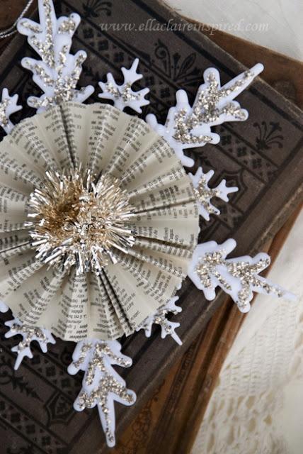 Vintage Snowflake Handmade Christmas Ornament Craft DIY Book pages