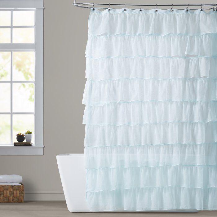 Atia Ruffled Tier Single Shower Curtain Shower Curtain Stylish Shower Curtain Curtains