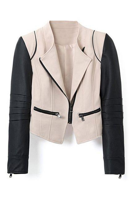 $39 http://www.romwe.com/romwe-color-block-zippered-pu-jacket-p-85190.html?Pinterest=fyerflys Color Block Zippered PU Jacket, The Latest Street Fashion