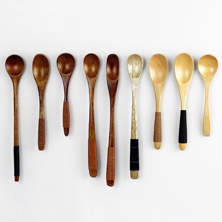 Small Coffee Wooden Mixing Spoon Vintage Lepel Lang Handvat Utensils For Tea Ice Cream Honey Fruit Spoon Long Handled QQA029