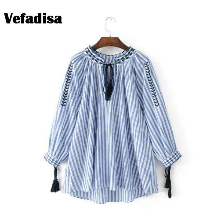 >> Click to Buy << Vefadisa Lace-up Embroidery Blouse 2017 New Blusa Three Quarter Sleeve with Tassel Striped Korean Tops Fashion Women Shirt AD176 #Affiliate