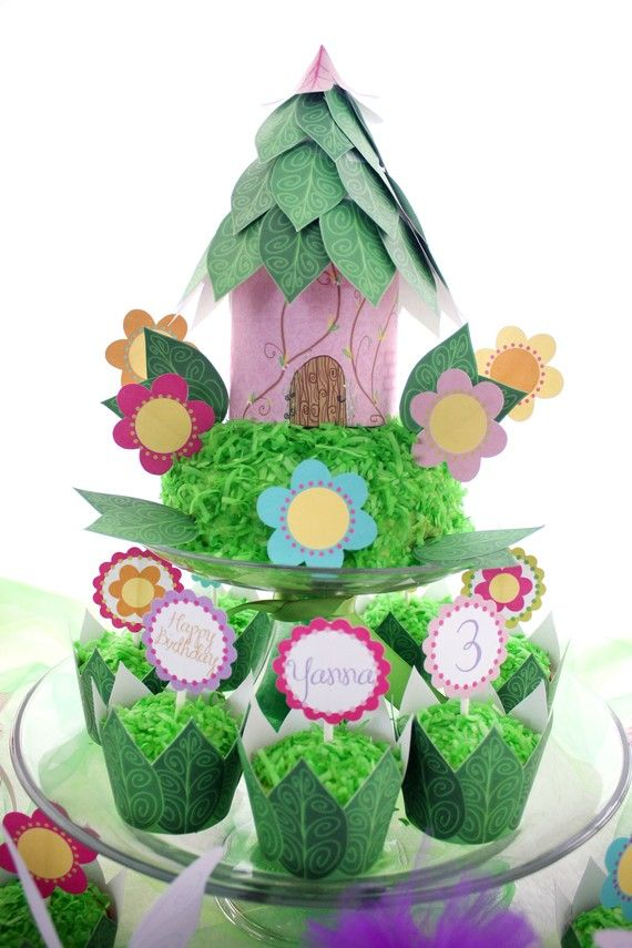 Fairy Party...mini 3 tiered cake fairy houses?