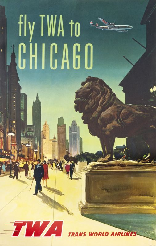 """fly TWA to Chicago"", 1950"