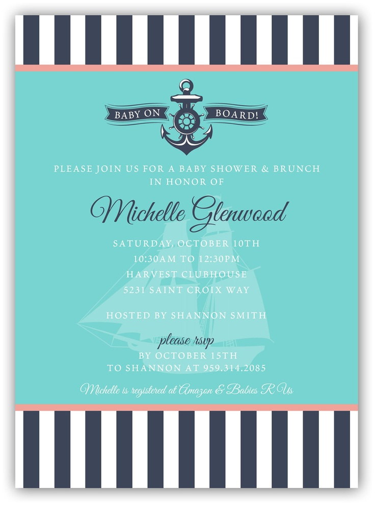 Sailboat Nautical Themed Shower Invite (4x6 or 5x7) - Digital Card Design. $15.00, via Etsy.
