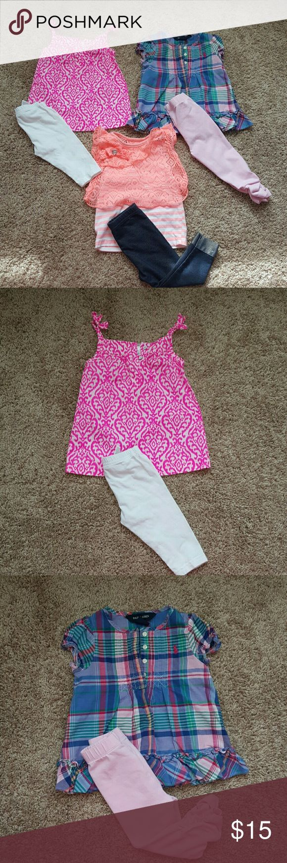 Baby Girl Matching Spring & Summer Outfits This listing is for 3 baby girl outfits.  All tagged size 12 Months.  The 1st outfit is Carters comes with white cropped leggings & pink & white shirt.  The 2nd outfit is Ralph Lauren has light pink pants with scrunching at the ankles & plaid shirt.  The 3rd outfit is Kidgets has denim jeggings that are cuffed. The cuffing can not be undone it is sewn that way. The cuffing has some slight piling which gives it a destroyed denim look. Not noticeable…