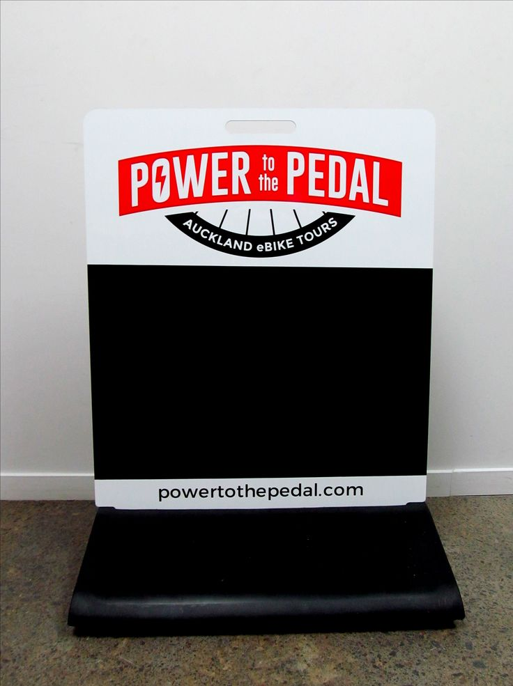 Executive footpath sign with blackboard vinyl for Power to the Pedal by Speedy Signs Newton