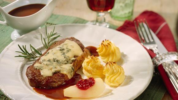 Rumpsteak+mit+Roquefort+und+Rotweinsauce+Rezept+»+Knorr