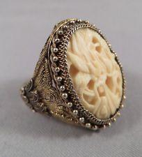 Antique Chinese Export Sterling Silver Vermeil Carved Bovine Bone Floral Ring