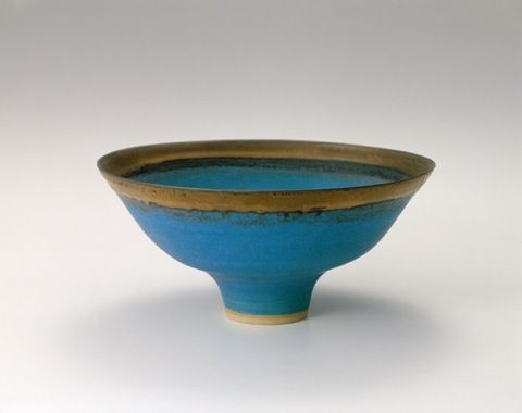 Turquoise Stoneware Bowl by Lucy Rie (1978)