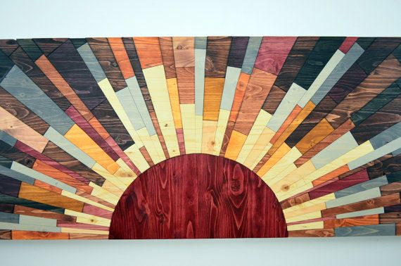 wood wall art 60x20 Edge Of The Day wooden by StainsAndGrains