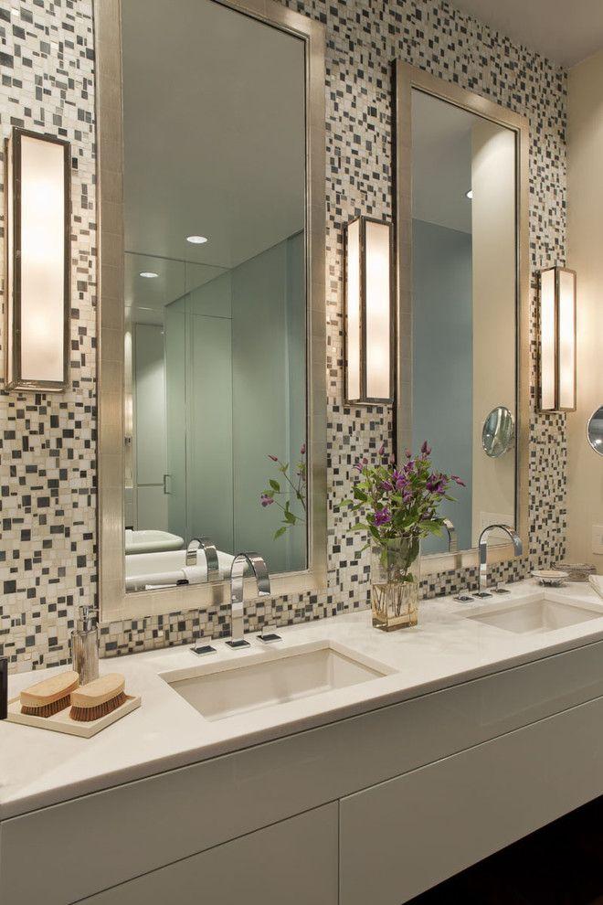 Photo Image Chelsea Loft New York contemporary bathroom new york Bruce Bierman Design Like the mirrors lights