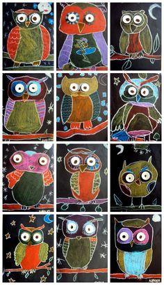 Owls:  chalk pastels on black construction paper