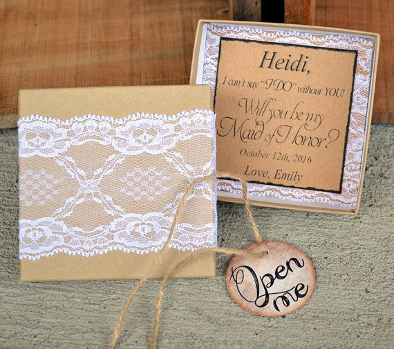 Bridesmaid Invitations Lace & Twine Box w/Open Me by AndOhSoCute