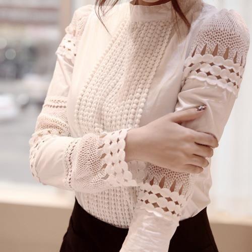 Высокое Качество Весна Осень женские Рубашки С Длинными рукавами Блузки Тонкий Основные Топы Полый Кружева Рубашки Для Женщин J2531 купить на AliExpress