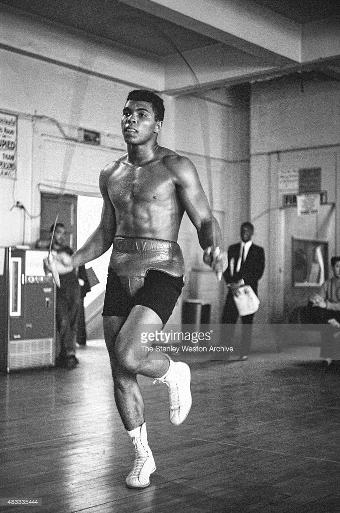 Cassius Clay, is jumping rope, training, at the Main Street Gym for his bout against Archie Moore in October, 1962 in Los Angeles, California.