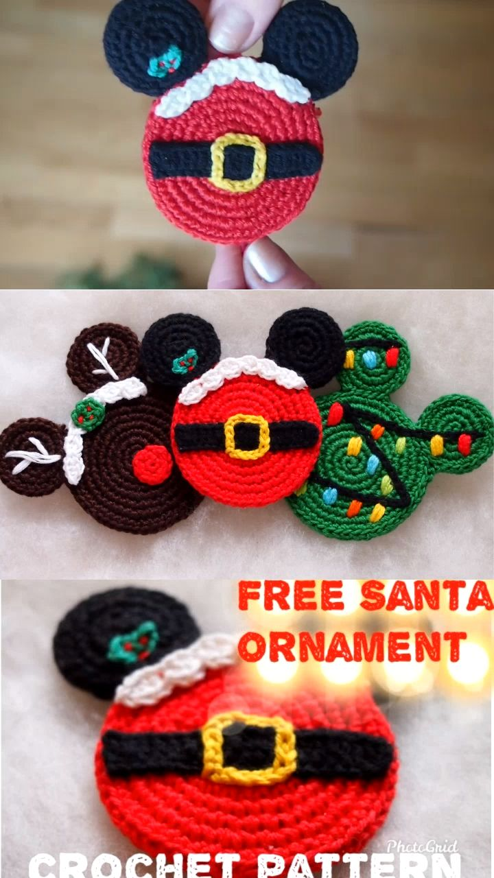 Santa Mouse Ears Free Crochet Pattern