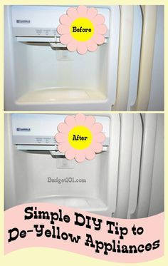 ***How to Remove Yellow Stains from Appliances***: You'll Need: 1/2 cup bleach, 4 cups warm water, 1/4 cup baking soda...