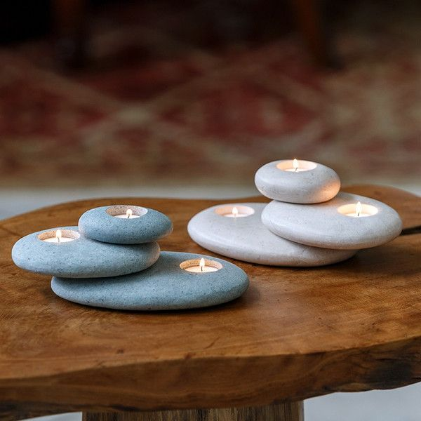 Use Citronella Teal Lights for bug-free evenings on the patio~ Stacked Stone Candle Holder