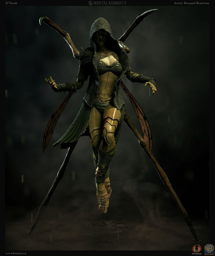 Mortal Kombat X - D'Vorah, Bernard Beneteau on ArtStation at https://www.artstation.com/artwork/mortal-kombat-x-d-vorah