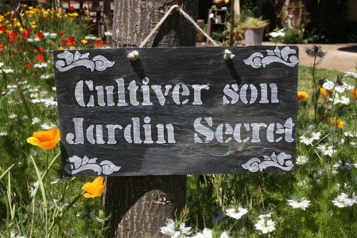 """Tuile en ardoise inscriptions """"Cultiver son Jardin secret"""" : Décorations murales par la-cage-a-deco"""