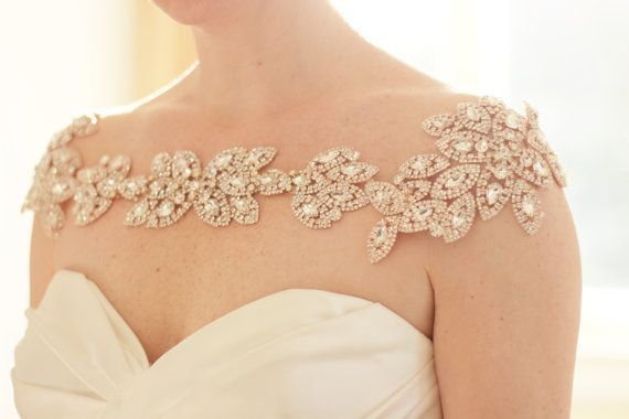 Rose Gold Bridal Bolero, bridal shoulder necklace, shoulder jewelry, statement necklace, rhinestone bridal shoulder necklace, abigail grace