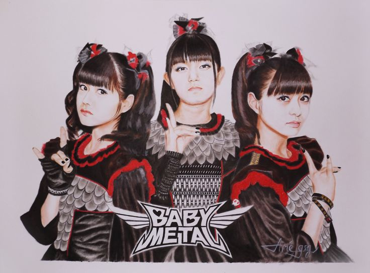 BABYMETAL ( L to R : Yui Mizuno, Suzuka Nakamoto, and Moa Kikuchi ) is a metal music group from Japan.  This painting was made using the Drybrush technique.