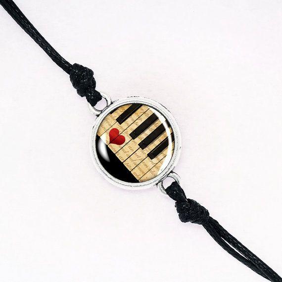 Love Piano Cord Bracelet, Handmade Stack Glass Dome Bracelet, Music Instrument, Black, Silver, Bronze, Gold Filled BCZA02R03K08