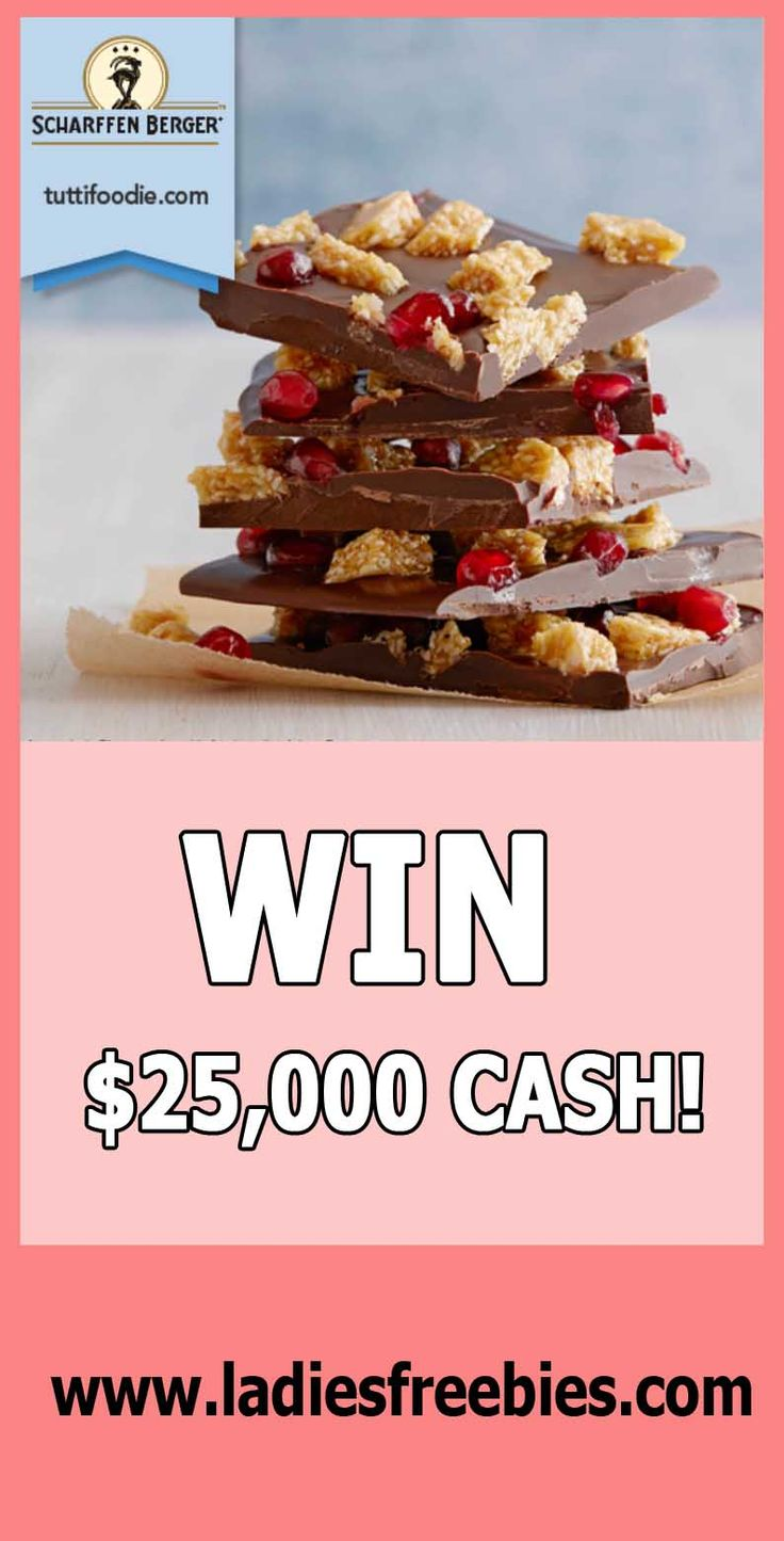 How do you like chocolate? And cash? And cashwin with chocolate? Win $25,000 Cash with tuttifoodie on ladiesfreebies.com!  #freecash #sweepstakes #giveaway