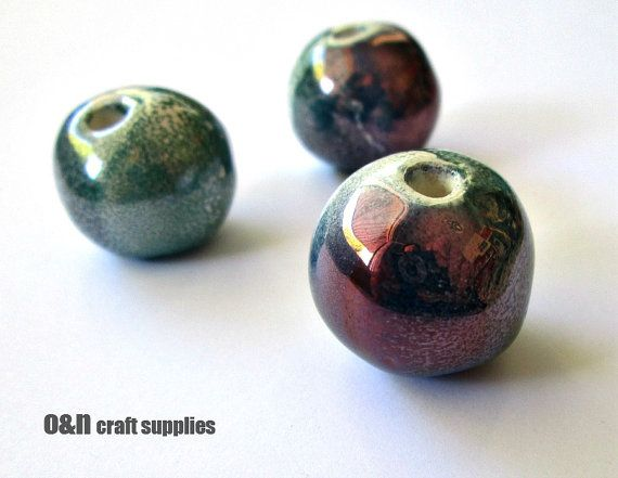 Round greek ceramic beads multi color enameled beads by OandN, $4.80
