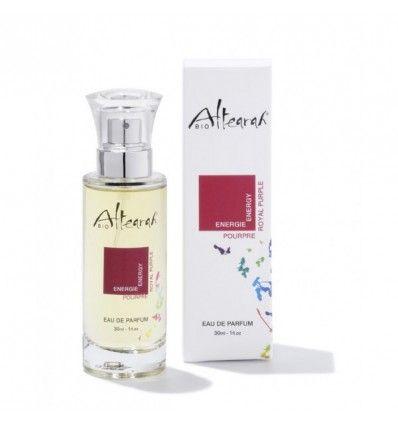 Eau de parfum Pourpre Energie Altearah Bio, certifiée vegan, bio à 98%, flacon en verre 30ml