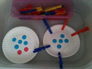 Kreative in Kinder: math centers...Students use clothes pins to count the dots and clip that many clothes pins to the plate.   When they are done, they remove the clothes pins and grab antoher plate.  This is cheap center activity that the kids enjoy, it's great for fine motor, and it is easy to put 20 different plates so they keep going and don't finish too early