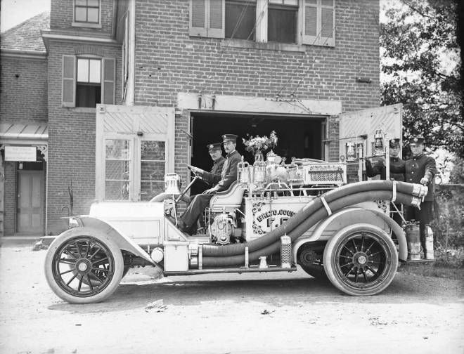 Fire crew [Baltimore County Fire Department firefighters at truck]. Southern Avenue, Baltimore County [now City], Maryland. 1910. James Lewis (1881-1959). 8 1/2 x 6 1/2 inch glass negative. James Lewis Photograph Collection. Maryland Historical Society, 001 8/10 008 PP224.