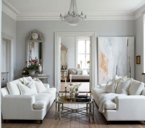 light grey silk curtains -large white sofa