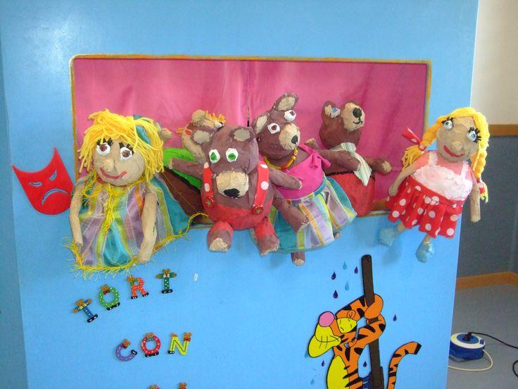 Marionetas hechas por niños de 5 años. Los tres oso y Ricitos de Oro. Ceip Pedro I Barbastro