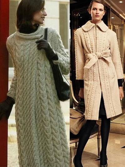 Длинные вязанные пальто
