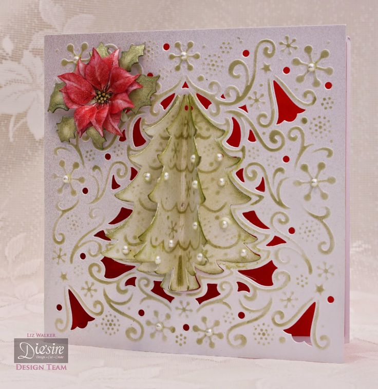 Christmas Card made using Crafter's Companion O'Christmas tree Create a card die, made by Liz Walker.