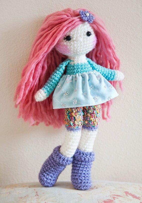Pink hair crochet doll, made by me :) www.linamariedolls.etsy.com -------- tags: rag doll, crochet doll, handmade, soft doll, plush doll, tejido, muñeca tejida, pink hair, wool yarn, pink wool