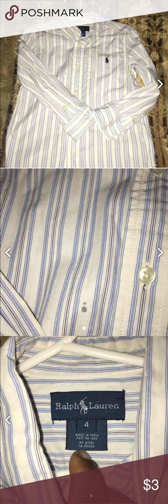 Ralph Lauren Stripe long sleeve button down small spot on front this item will be sold cheap Ralph Lauren Shirts & Tops Button Down Shirts