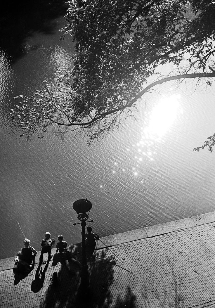 Eva Besnyö, 1951: This image being taken by Eva Besnyo in 1951 is a landscape image consisting of a river with people sitting by the edge next to a lamp post with a branch arching in to the top of the image. This is a very simple but inspiring picture that Eva took.