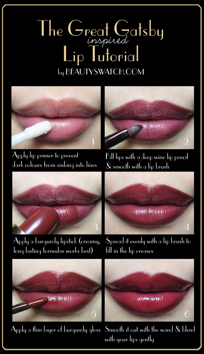 Great Gatsby Tutorial. Okay I love this, but the trick is after you do it, don't eat drink or kiss anyone bc you'll be fkd. Might as well just not move your lips.